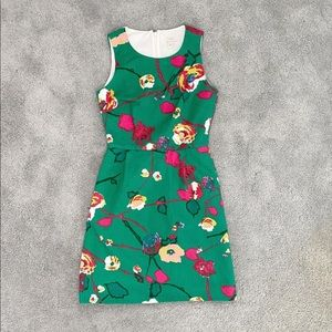 J Crew Green Floral Dress Size 00